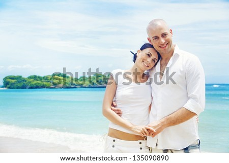 beautiful casual couple in bali - stock photo
