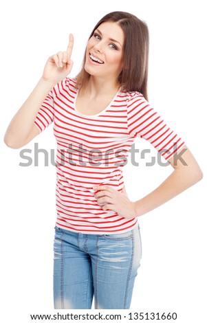 Beautiful casual lady isolated on white background - stock photo