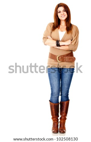 Beautiful casual woman - isolated over a white background - stock photo