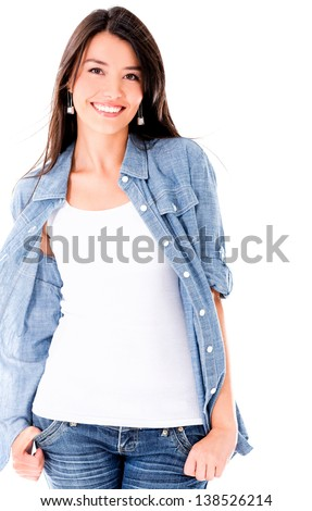 Beautiful casual woman looking very happy  - isolated over white - stock photo