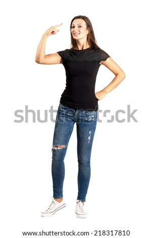 Beautiful casual woman making crazy hand gesture. Full body length isolated over white background. - stock photo
