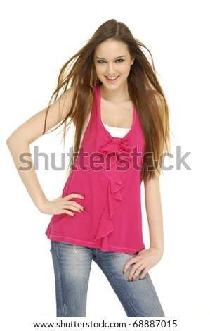 Beautiful casual woman smiling isolated over a white - stock photo