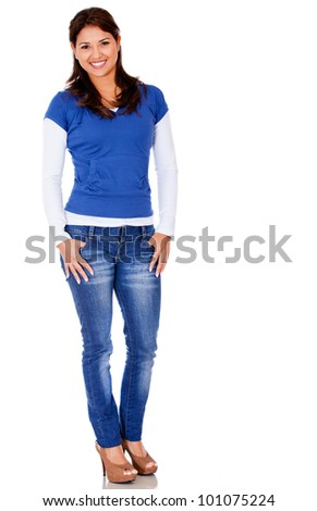 Beautiful casual woman standing isolated over a white background - stock photo