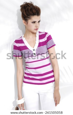 beautiful casual young fashion model shot in studio  - stock photo