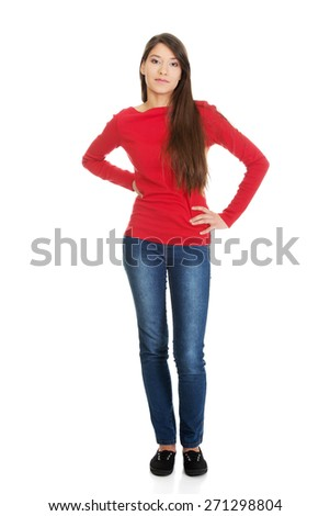Beautiful casual young student woman. - stock photo