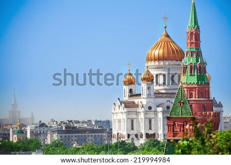 Beautiful Cathedral of Christ the Savior view - stock photo