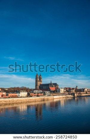 Beautiful cathedral of Magdeburg, river Elba and old town in the Spring morning, Magdeburg, Germany, 2015