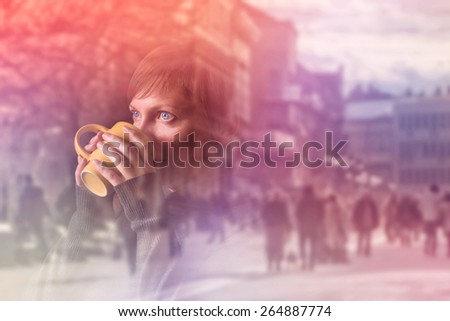 Beautiful caucasian adult woman drinking cup of coffee, Double Exposure Image with Unrecognizable people walking the street in background - stock photo