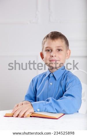 beautiful, caucasian boy reading a book - stock photo
