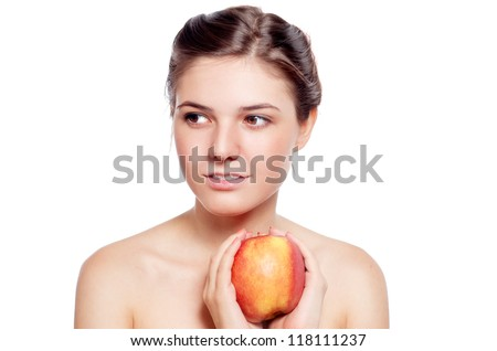 Beautiful caucasian brunette girl with the red apple. Isolated on  white background.