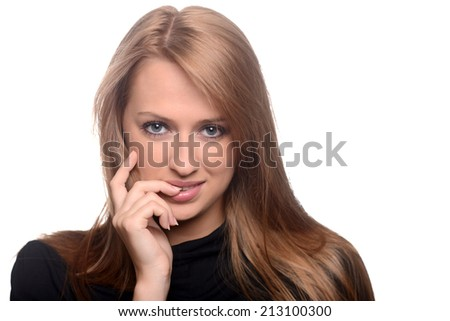 Beautiful caucasian brunette over white background - stock photo