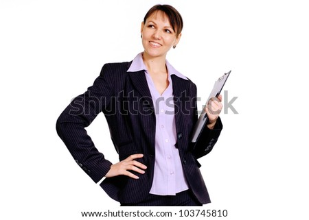 Beautiful Caucasian business lady standing with staff on a white background