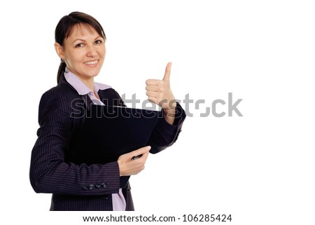 Beautiful Caucasian business woman shows cool on a white background