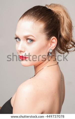beautiful caucasian girl and luxury  - stock photo