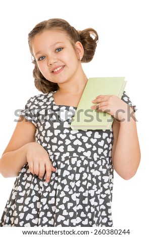 beautiful caucasian girl holding a book in his hand, close-up - isolated on white. - stock photo