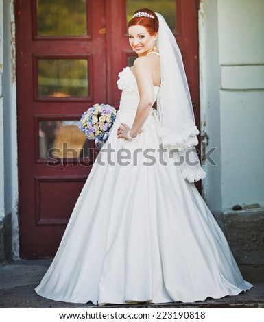 Beautiful caucasian lovely red hair bride in white dress. Long veil.  - stock photo