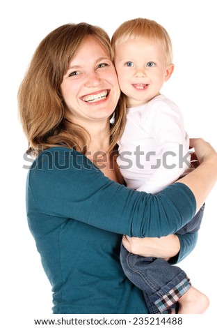 Beautiful caucasian mother holding her baby boy. Image is isolated on a white background. - stock photo