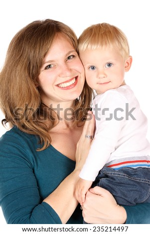 Beautiful caucasian mother holding her baby boy. Image is isolated on a white background.