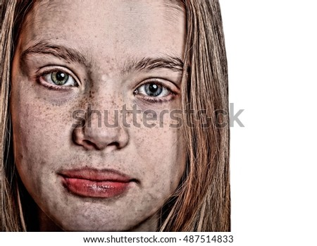 Beautiful Caucasian Teenager with Freckles