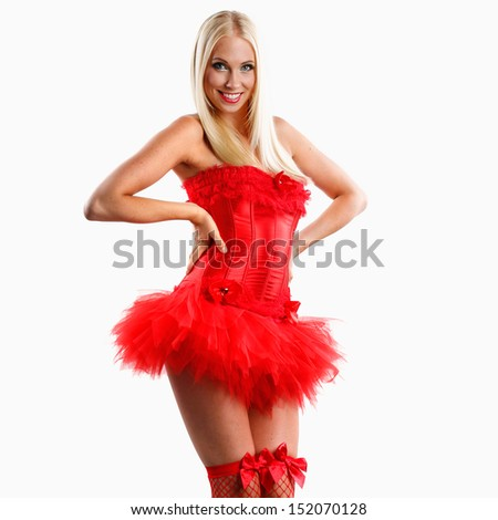 Beautiful caucasian white woman with red lips in sexy red lingerie or dance outfit on a white background