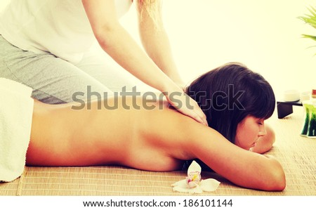 Beautiful caucasian woman getting spa treatment - stock photo