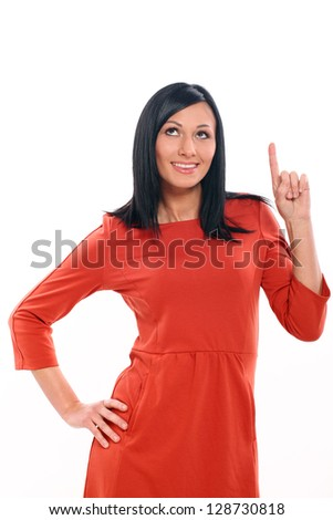 Beautiful caucasian woman  have an idea isolated over white background - stock photo
