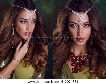 Beautiful caucasian  woman in green indian sari and jewelry on colorful background - stock photo