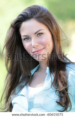 Beautiful Caucasian woman outdoors, fall, seasonal portrait, autumn fashion