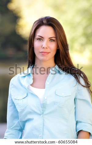 Beautiful Caucasian woman outdoors, fall, seasonal portrait, autumn fashion - stock photo