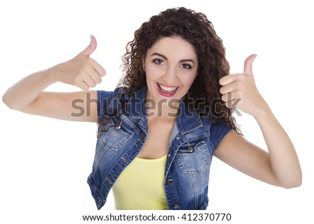 Beautiful Caucasian woman. She makes a gesture with his hand. Emotionally smiling, everything is OK. The white background isolated.