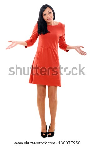 Beautiful caucasian woman surprised  isolated over white background - stock photo