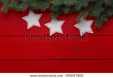 Beautiful celebratory Christmas background. New Year's holidays. Christmas holidays. Beautiful Christmas decorations on the wooden background - stock photo