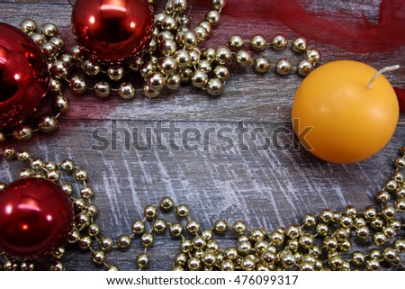 Beautiful celebratory Christmas background. New Year's holidays. Christmas holidays. Beautiful Christmas decorations on the wooden background. For text