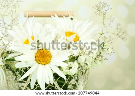 Beautiful chamomiles in basket on bright background - stock photo