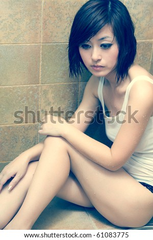 beautiful charming chinese curve fascinating female girl grain lingerie oriental seductive sexy sleek slim smooth temptation Bathroom Sensuality ass - stock photo