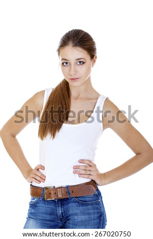 Beautiful cheerful teen girl in jean shorts, isolated on white background - stock photo
