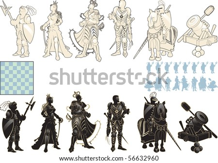 beautiful chess pieces made in the form of silhouettes of armed people. raster