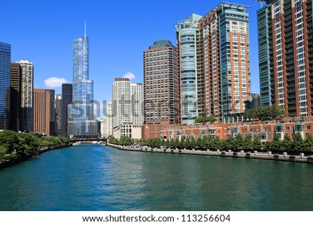 Beautiful Chicago River and skyline - stock photo