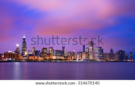 Beautiful Chicago skyline at sunset - stock photo