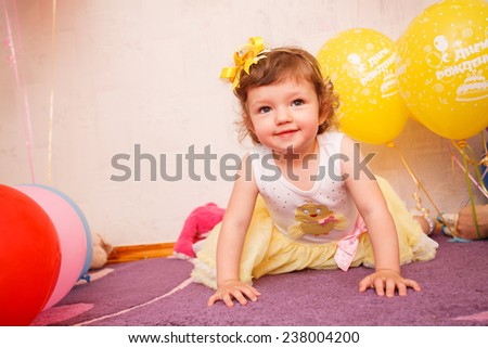 beautiful child enjoying life. Portrait of a beautiful  little girl close-up - stock photo