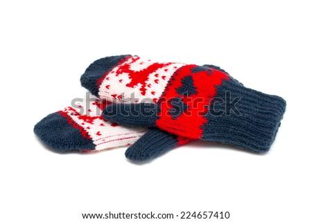 beautiful child gloves - stock photo