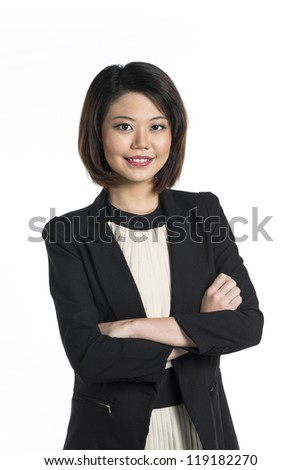 Beautiful Chinese business woman with friendly smile. Isolated on white background. - stock photo