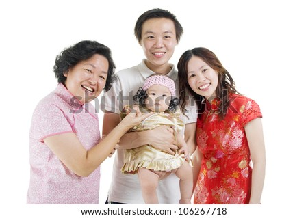 beautiful chinese family in traditional costume