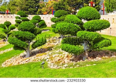 Beautiful Chinese landscape park. - stock photo