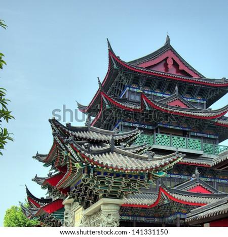 Beautiful Chinese temple - stock photo