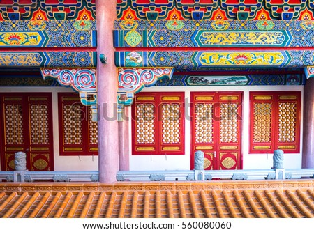 Beautiful Chinese temples with door and windown on Chinese New Year in Thailand. (Wat Leng Noei Yi 2) a giant Chinese Buddhist temple