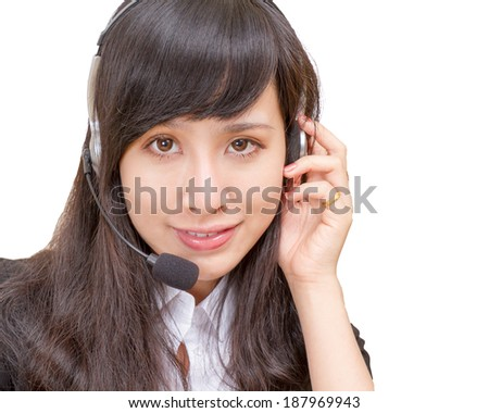 Beautiful Chinese Woman wearing Headset