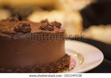 Beautiful chocolate cake on a white plate - stock photo
