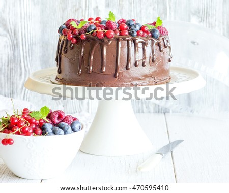 Beautiful chocolate cake with fresh berries for party