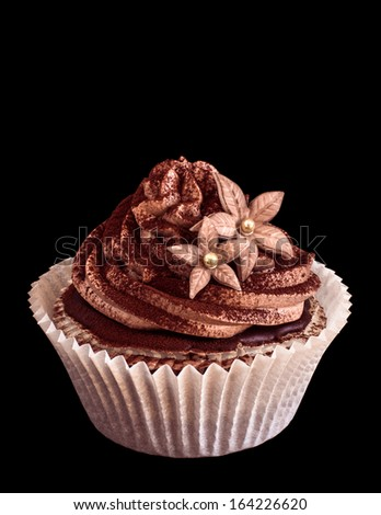 Beautiful chocolate cupcake with sugar flowers. Isolated on black - stock photo